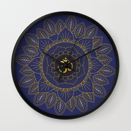 Om Symbol and Mandala in Spiritual Gold Purple Blue Violet Wall Clock