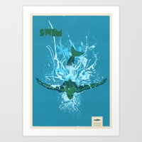 swim Art Prints featuring Swim by Mike Kus