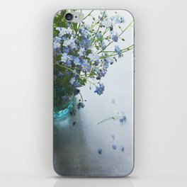 Forget-me-not bouquet in Blue jar iPhone Skin