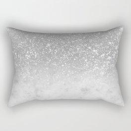 White Marble Silver Ombre Glitter Glam #1 #shiny #gem #decor #art #society6 Rectangular Pillow