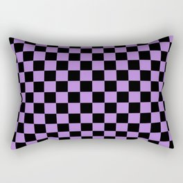 Black and Lavender Violet Checkerboard Rectangular Pillow