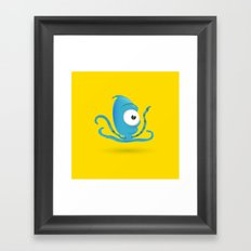 Octopus Blue/Yellow Framed Art Print