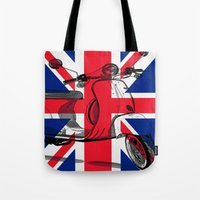 british flag Tote Bags featuring British Flag Scooter by Hello Tokyo Go Go