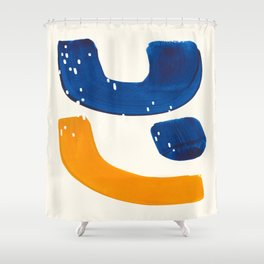 Minimalist Abstract Mid Century Modern Colorful Shape Yellow Blue Pattern Fun Art Shower Curtain
