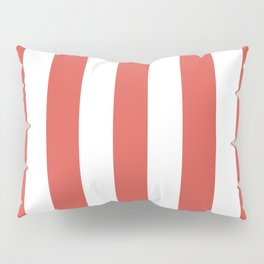 Lychee red - solid color - white vertical lines pattern Pillow Sham