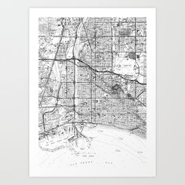 Vintage Map of Long Beach California (1964) BW Art Print