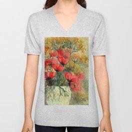 Vase With Poppies Unisex V-Neck