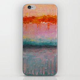 Fire Sunset vibrant mixed media abstract seascape iPhone Skin