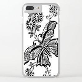 Vintage Lace Butterflies Clear iPhone Case