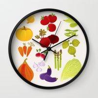 vegetables Wall Clocks featuring Vegetables  by rusanovska