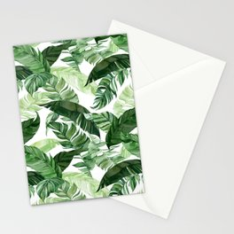 Green leaf watercolor pattern Stationery Cards