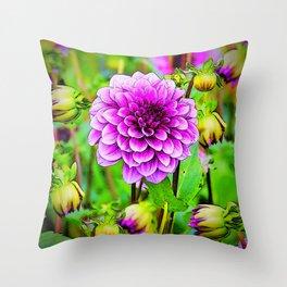 LILAC PURPLE DAHLIA FLOWERS & BUDS Throw Pillow
