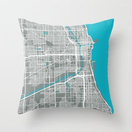 Chicago Map | Gray & Blue Colors Throw Pillow