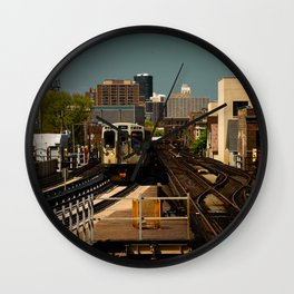 Incoming L Train Chicago Train El Train Subway Transit Windy City Wall Clock