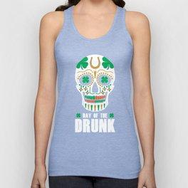 St. Patricks Day Sugar Skull Clover Day Of The Drunk Unisex Tank Top