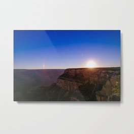 Moon Rise Over The Grand Canyon Metal Print