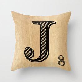 Scrabble Tile Letter J Throw Pillow