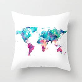 World Map Turquoise Pink Blue Green Throw Pillow