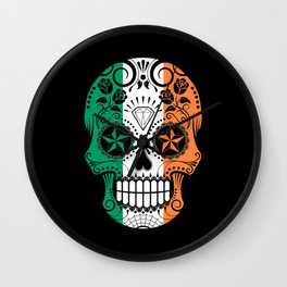 Sugar Skull with Roses and Flag of Ireland Wall Clock