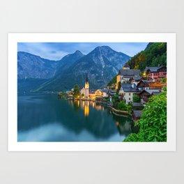 Hallstatt Village, Alps Art Print