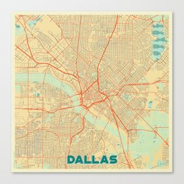 Dallas Map Retro Canvas Print