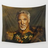 tom selleck Wall Tapestries featuring Sir Tom Jones OBE by replaceface