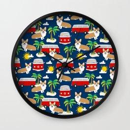 Corgi beach summer design Wall Clock