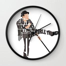 Typography Art of Tom Waits Wall Clock