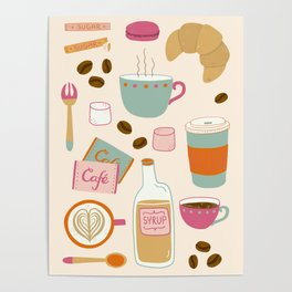 Drawing Coffee in a Café Poster