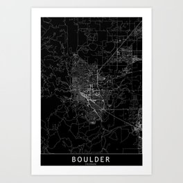 Boulder Black Map Art Print