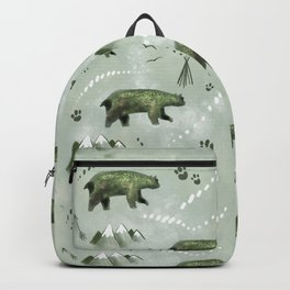Bears and mountains pattern green Backpack