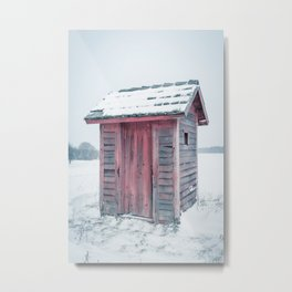 Winter Outhouse Snowy Field Red Wooden Cold Metal Print