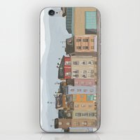 cityscape iPhone & iPod Skins featuring Cityscape by Paint Your Idea