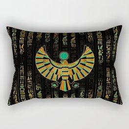 Egyptian Horus Falcon gold and color crystal Rectangular Pillow