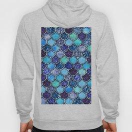 Colorful Teal & Blue Watercolor & Glitter Mermaid Scales Hoody