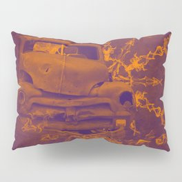 Abstract rusty car in purple and orange Pillow Sham