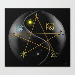 Feng Shui five elements Black Canvas Print