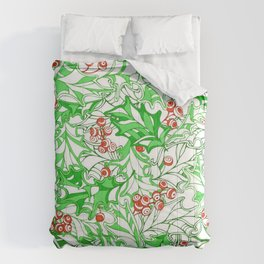 Line Art Holly Berry plant pattern Comforters