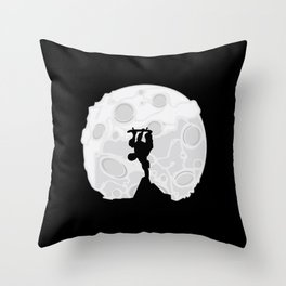 Skater Moon Throw Pillow