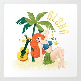 Aloha From Sunny Hawaii Wish You Were Here Art Print