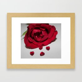 hearts and rose Framed Art Print