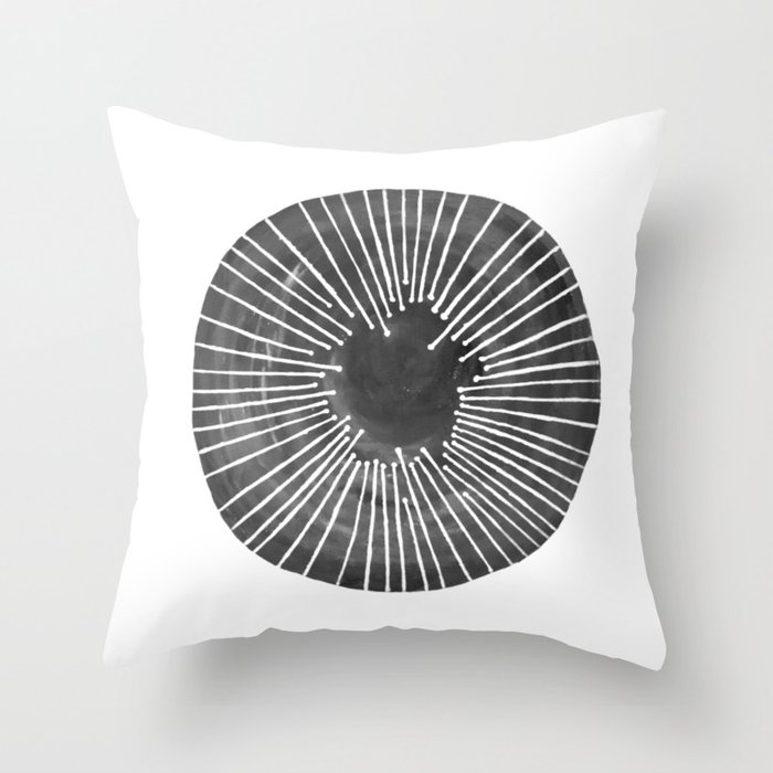 Black and White Circle Throw Pillow