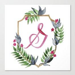 Jungle Gold Monogram Crest G Canvas Print