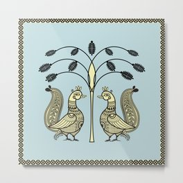 Ethnic Art Indian Ducks with tree Metal Print