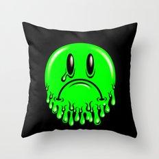 Slimey - neon green Throw Pillow