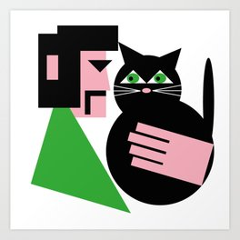 CAT WITH HIS LAD Art Print