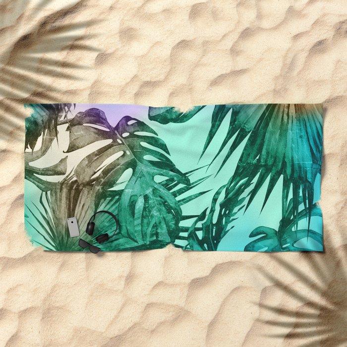 Simply Palm Leaves in Hologram Island Green Beach Towel