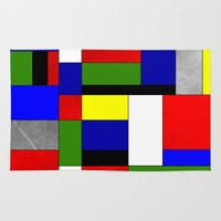 mondrian Area & Throw Rugs featuring Mondrian #4 by Ron Trickett
