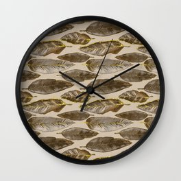 Gold Feather Pattern brown beige Wall Clock