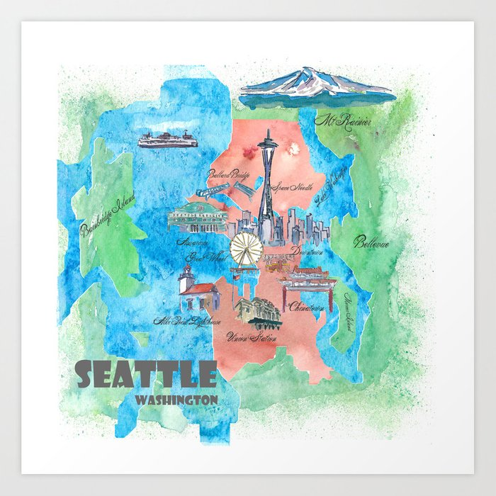 Seattle Washington Travel Poster Favorite Map Art Print By Artshop77
